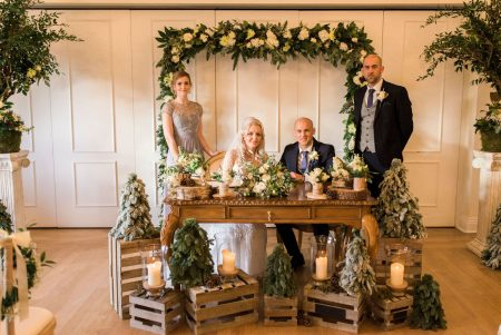 Bride, Groom, bridesmaid & bestman at ceremony table at the magical West Tower